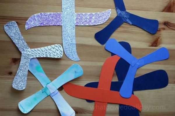 Make paper indoor boomerangs to explore the science of aerodynamics