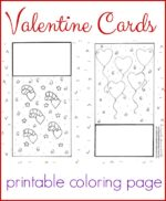 Free, printable Valentine cards coloring page for kids.