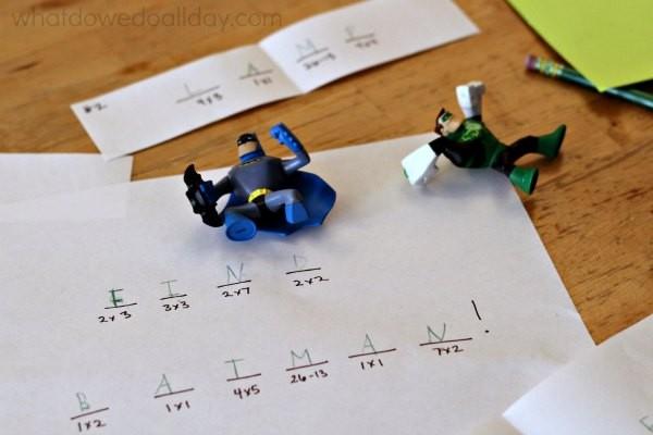 Superhero secret code activity scavenger hunt for kids.