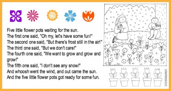 Spring coloring page and rhyme activity