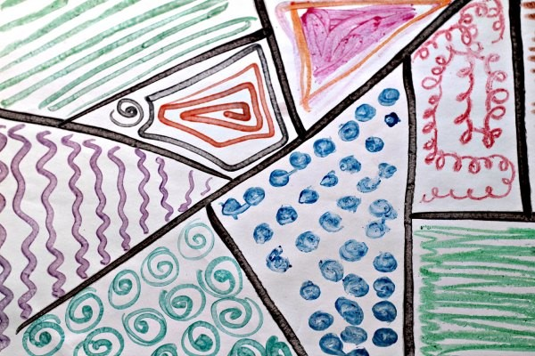 Melted crayon zentangle drawing.