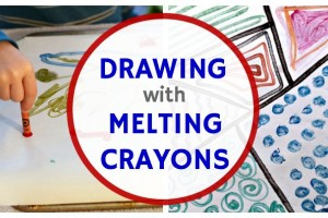 Drawing with melted crayon art project for kids.