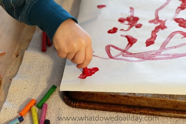 Melting crayons art project for kids.
