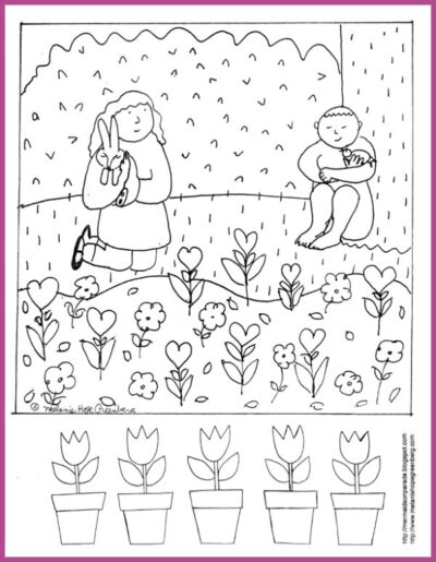 Spring coloring page for kids with garden.