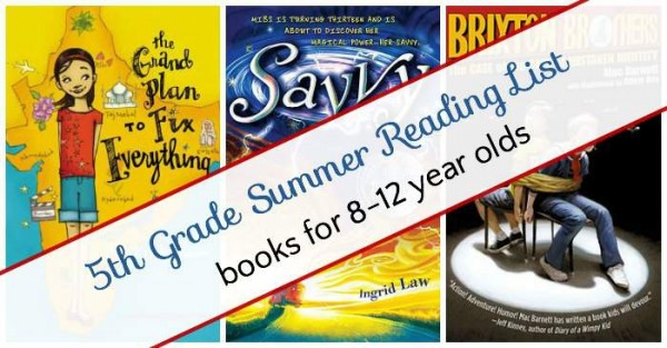 5th Grade summer reading list for kids.