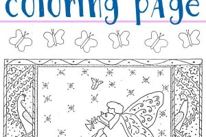 Free printable butterfly fairy coloring page activity