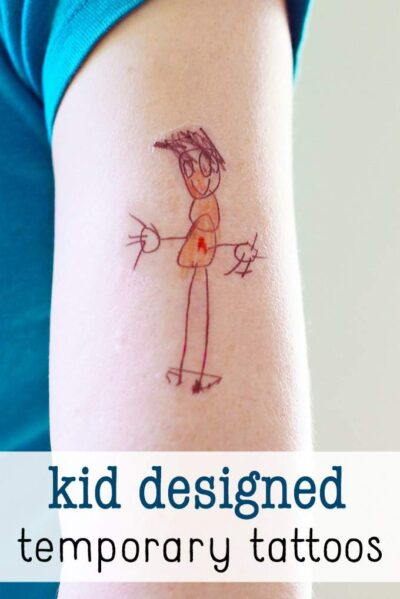 Mother's Day gift: DIY temporary tattoos made from kid artwork.