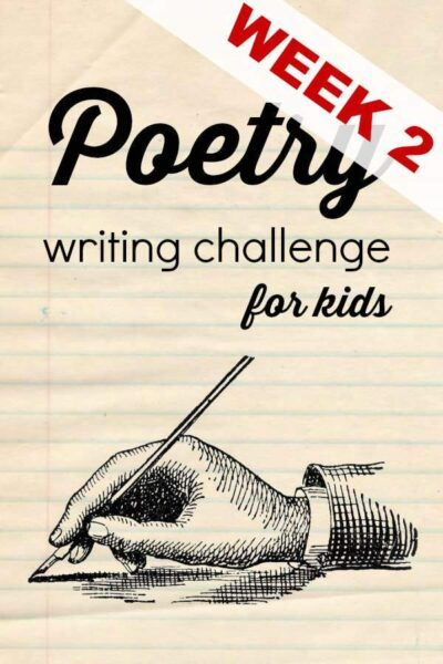 Weekly poetry writing challenge for kids during National Poetry Month