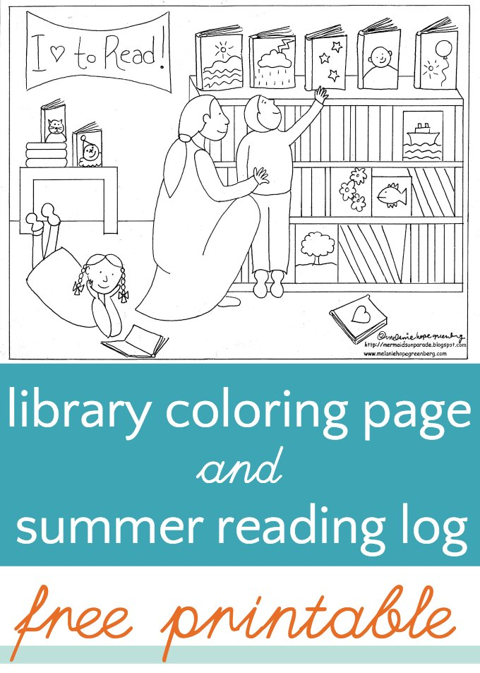 Library coloring page and summer reading log for Librarian coloring page