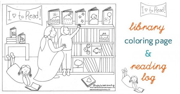 Free library coloring pages and reading log.
