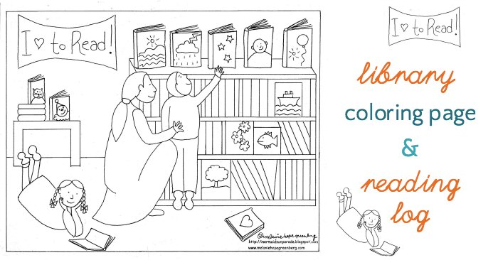 Library Coloring Page (and Summer Reading Log)