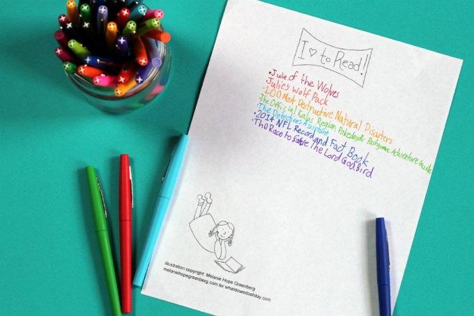Printable summer reading log for kids.