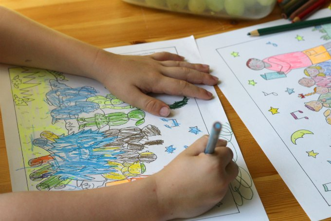 Coloring pages as a family bonding experience.