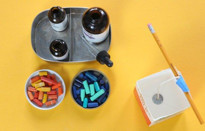 Materials for milk carton candles.
