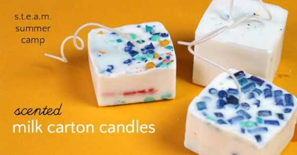 Summer camp project. Make scented milk carton candles.