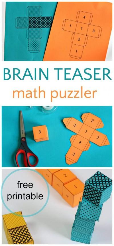 Math puzzler brain teaser. Free cubic riddler for kids.