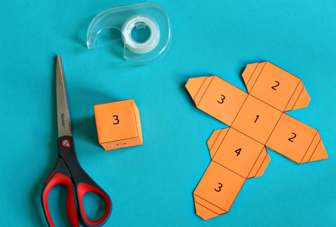Materials to make cube riddle math puzzle