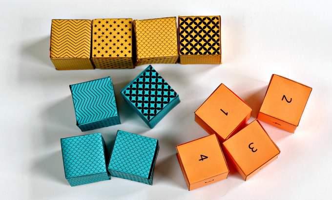 Finished math puzzle cubes