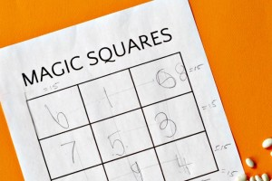 Magic square is a math puzzle game for kids.