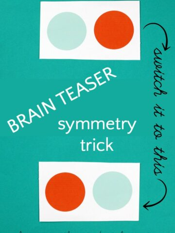 Symmetry paper trick. A brain teaser for kids.