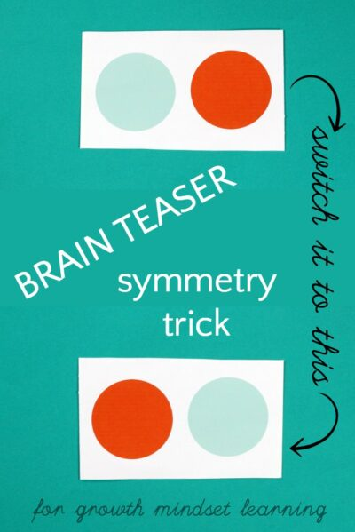 Symmetry paper trick. A brain teaser for kids.