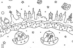 Free space alien coloring page from illustrator Melanie Hope Greenberg.