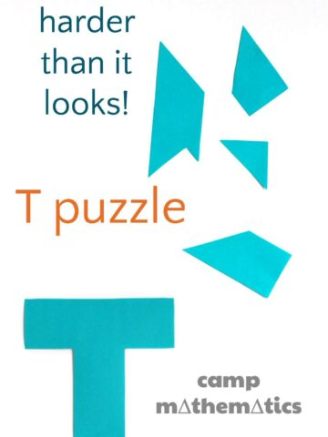 T puzzle is a brain teaser that is harder than it looks. Free printable and the solution.