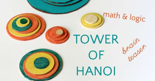 Tower of Hanoi is a fun brain teaser for kids.