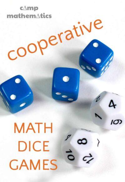 Cooperative math dice games for kids. Make math fun.