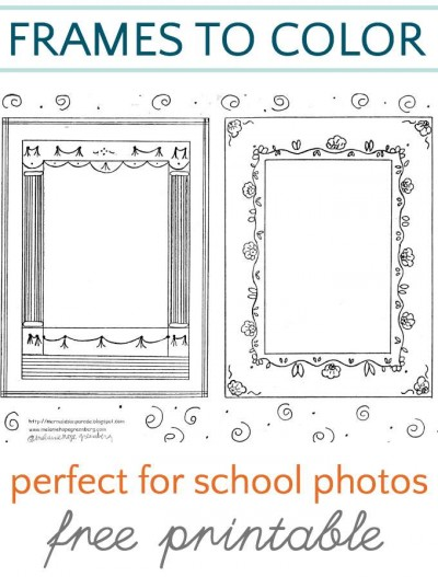 Coloring pages that double as frames for school pictures.  Fun gift or card idea.