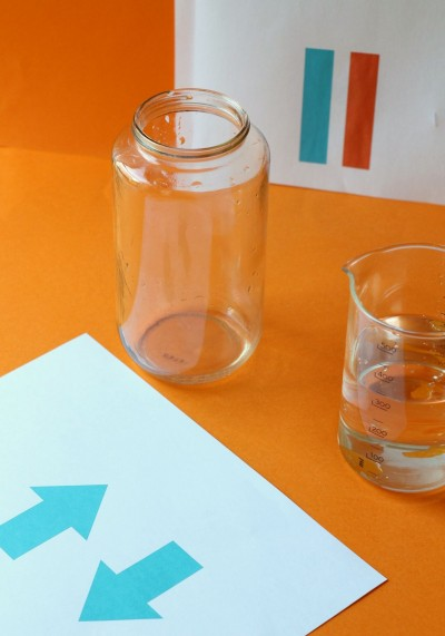 Materials for water refraction experiment.