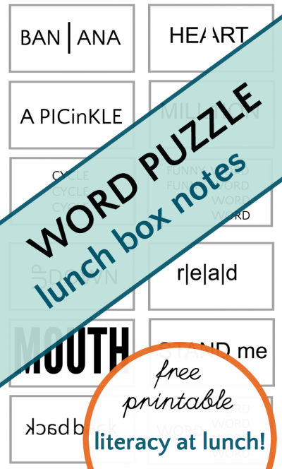 "Word Puzzle ""Wuzzles"" lunch box notes for kids."