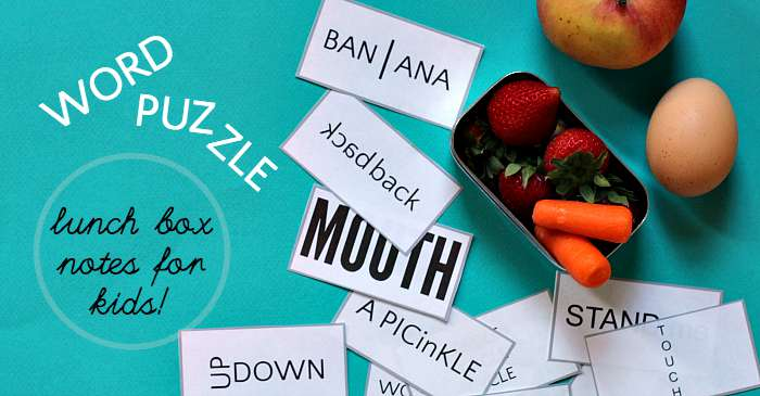 photo regarding Printable Wuzzles With Answers identify Term Puzzle Lunch Box Notes: \