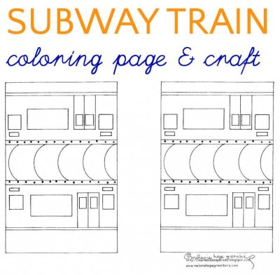 Subway train coloring page and craft.