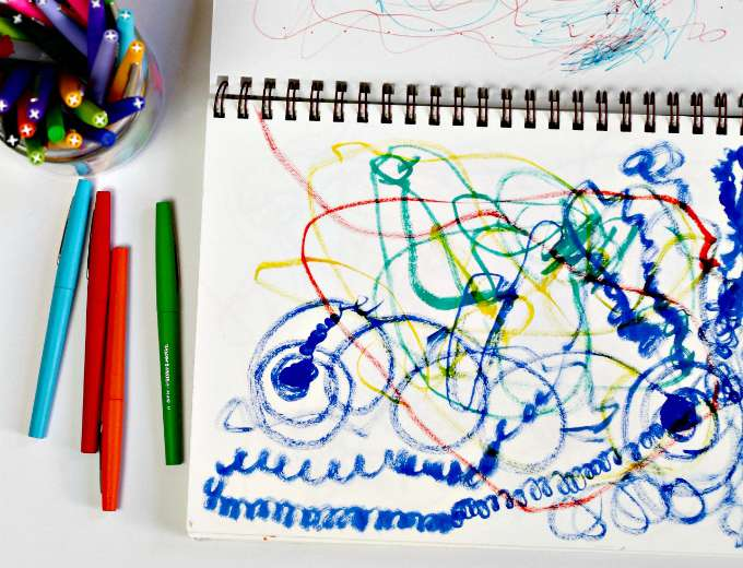 Tandem drawing is a fun way to inspire kids to make free form art.