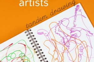 Art project for kids who are reluctant to draw. Tandem drawing.