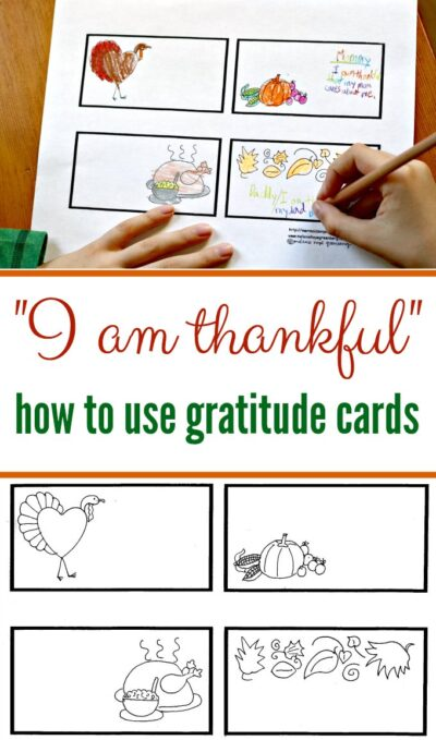 How to use thankful cards. Free printable coloring page for kids included.