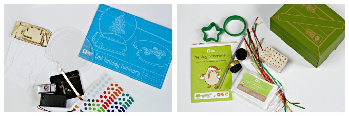 Inside the holiday craft boxes for kids.