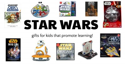 Star Wars gifts that promote learning. Books, games, arts and crafts for kids