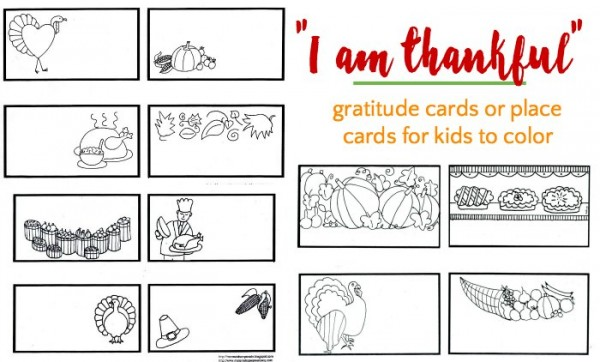 Thankful cards for kids to color for the holidays.