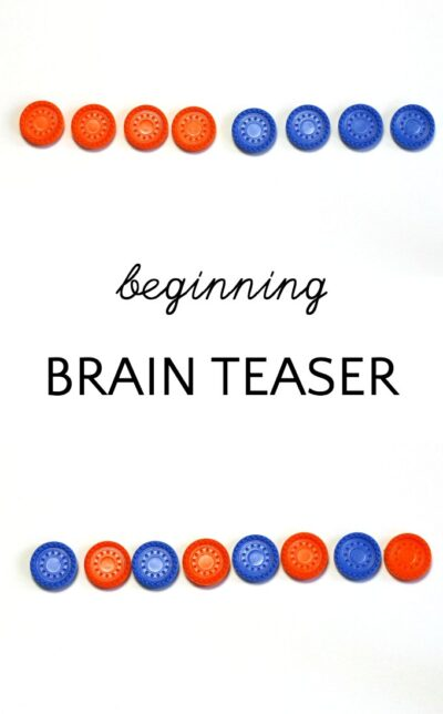 Beginning and quick brain teaser puzzle for kids working on logic and strategy.