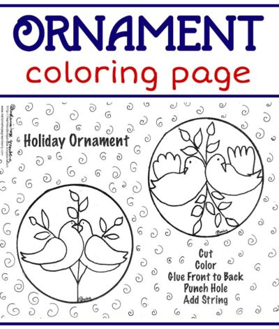 Holiday ornament coloring page for kids. Make gift tags or ornaments.