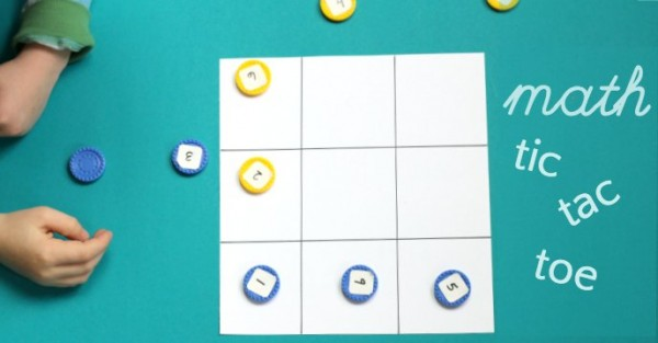 Mental math game with tic tac toe strategy