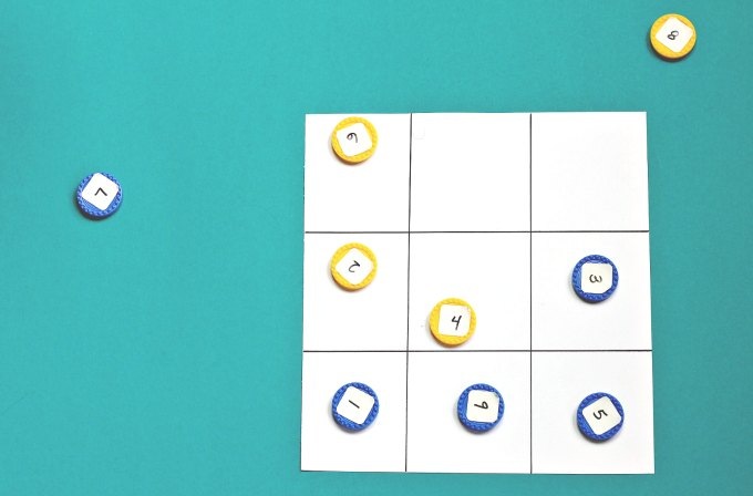 Math Tic Tac Toe game in progress.