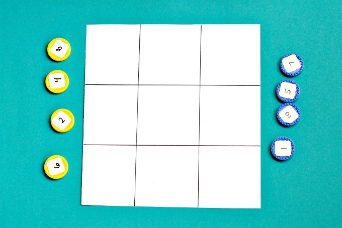 Math tic tac toe game board