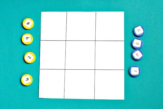 Math tic tac toe game board