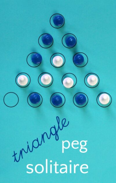 Peg solitaire triangle game is a logic game for kids and adults. Free printable to play at home