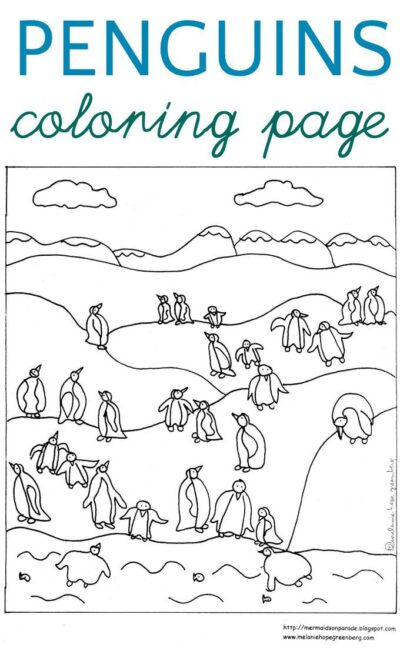 A waddle of penguins coloring page. Free printable for kids.