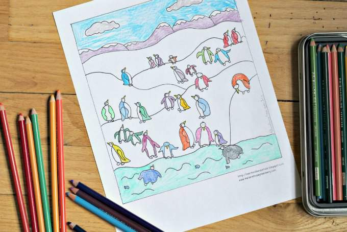 Rainbow penguins coloring page.