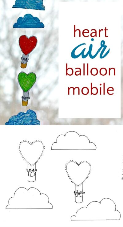 Printable heart coloring page to turn into a sweet mobile for Valentine's Day.